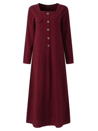 Women Long Sleeve Button Down Solid Loose Casual Dress