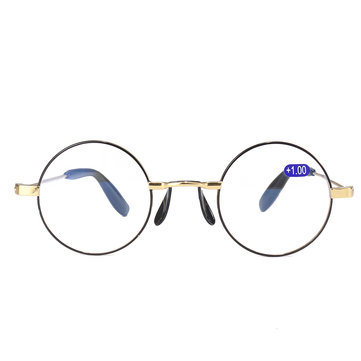 KCASA Retro Anti-blue Round Frame Presbyopic Reading Glasses