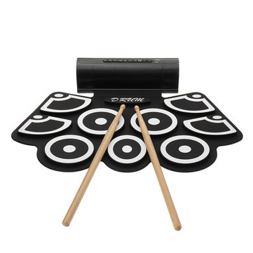 KONIX MD760 Portable 9 Beat Built-In Speaker Roll Up Electronic Drum Pad Kits