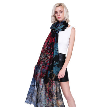 Women Winter Fall Scarf Blossom Flower Printed Elegant Shawl