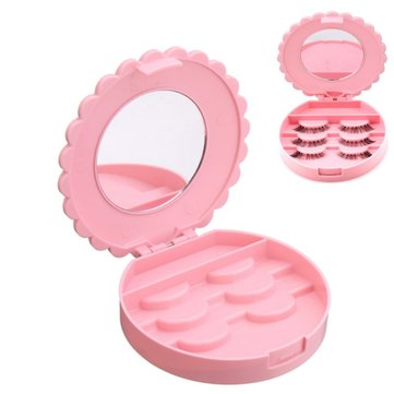 Empty Pink Bowknot False Eyelashes Container Case Collection Box Makeup Cosmetics Tool