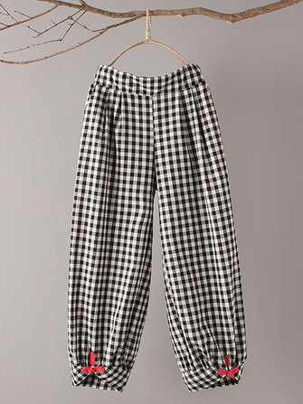 Vintage Plaid Plate Button Loose Pants
