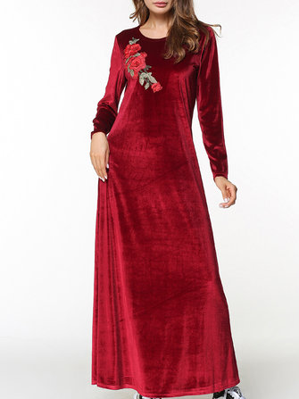 Velvet Women Long Sleeve O-Neck Floral Embroidery Maxi Dress