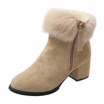 Warm Fur Lining Chunky Heel Ankle Short Boots