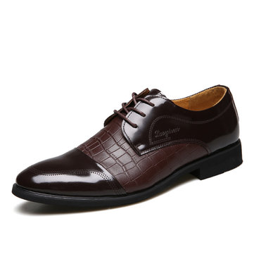 Men New Leather Formal Flat Lace-Up Fashion Comfortable Business Shoes