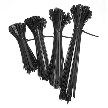 100pcs Nylon Network Cable Zip Tie 150mm/200mm/250mm/300mm Locing Wire Black