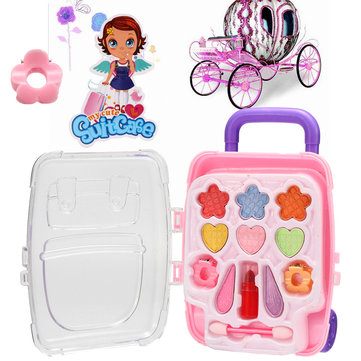 Mini Suitcase Princess Pretend Makeup Set Kit Girls Kids