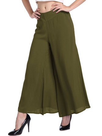 Casual Women Elastic Waist Pure Color Loose Wide Leg Pants