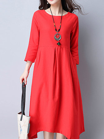 Vintage Women Long Sleeve Fold Irregular Hem Dresses