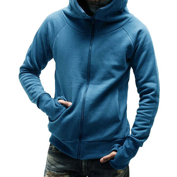 Autumn Cotton Loose Zipper Hooded Sweatshirt for Men