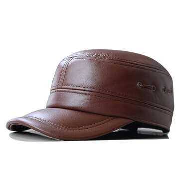 Mens Winter First Layer Cowhide Military Style Flat Top Hat