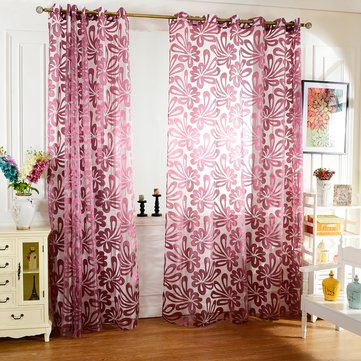 Honana WX C7 Multiple Colors Semi Blackout Sheer Curtains Panel Window Blind Purple