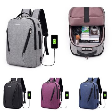 Anti-theft Men Women Laptop Notebook Backpack USB Charging Port Lock Travel School Bag