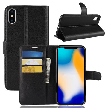 PU Leather Wallet Kickstand Flip Protective Case For iPhone XS Max