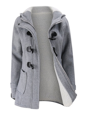Women Hooded Coat Casual Long Sleeve Horn Button Outerwear