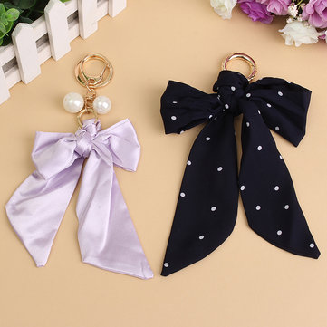 Elegant Chiffon Bow Key Ring Chain Removable Scarf Clothes Accessories