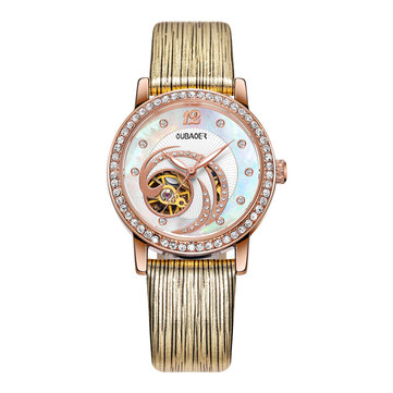 OUBAOER OB2005A Crystal Ladies Automatic Mechanical Watch Leather Strap Clock Wrist Watches