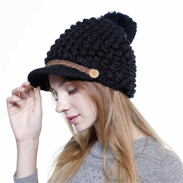 Women Winter Vintage Earmuffs Knit Beanie Caps