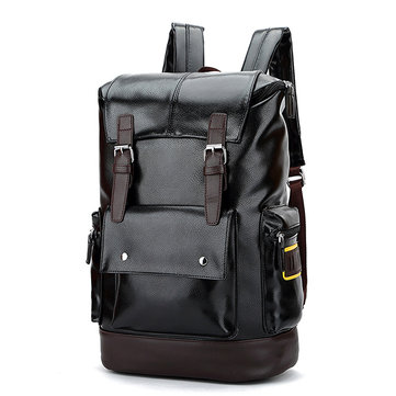 Men Leather Backpack Big Capacity Multifunctional Travel Bag Computer Bag