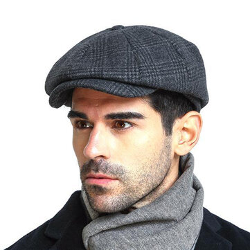 Men Vintage Wool Gird Beret Hat Winter Warm Gentleman Octagonal Cap