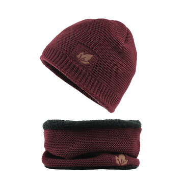 Men Winter Thicken Plus Velvet Knit Hat Scarf Set Beanie