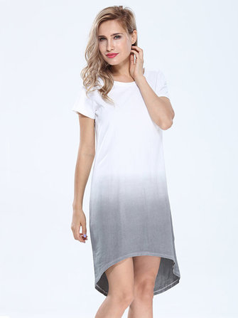 Women Casual Cotton Gradient Loose Dresses