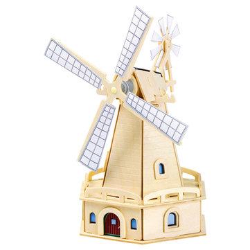 3D Solar Power Windmill Energy Kits Brick Block Wood Puzzle Model Toy