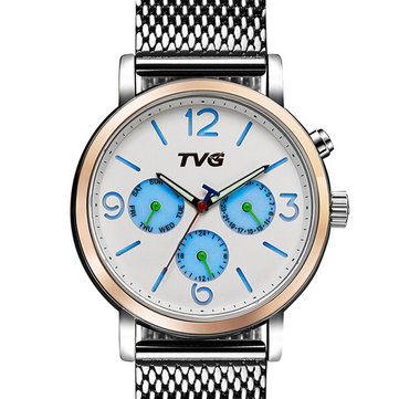 TVG 169 Week Day Display Alloy Case Stainless Steel Strap Casual Men Quartz Wrist Watch