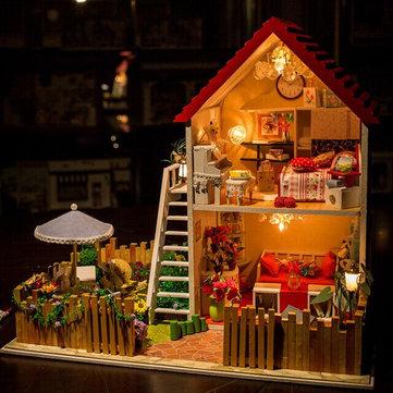 Hoomeda DIY木製ミニチュアドリームハウスLED家具カバードールハウス