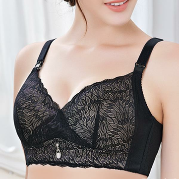 Lace-trim Front Open Button Wireless Cotton Push Up Thin Nursing Bra
