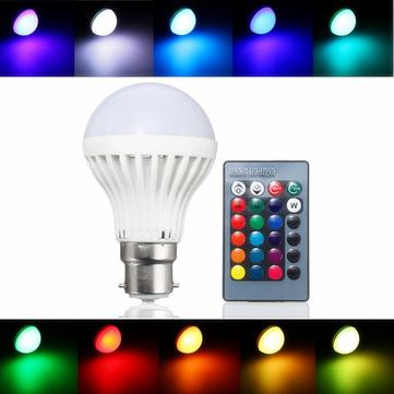 B22 3W RGB 16色LEDスポットライトランプ電球リモートコントロールAC85-265Vを変更する