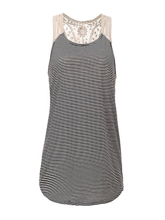 Sexy Women Stripe Lace Splicing Hook Irregular Hem Crochet Vest