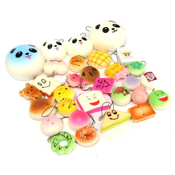 18PCS Random Panda Cup Cake Toasts Buns Donuts Squishy Soft Cell Phone Straps