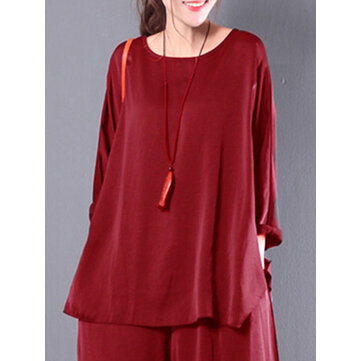 Women Casual Loose Baggy Retro Flounced Solid Blouse