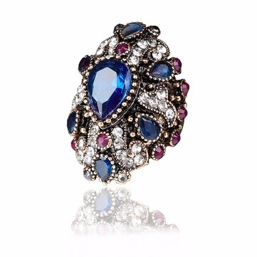 Luxury Finger Ring Colorful Water Drop Crystal Geometric Gold Plated Rings Ethnic Jewelry for Women