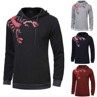 Men Spring Fall Cotton Polyester Long Sleeve Scorpion Print Hoodies Slipcover Pullover