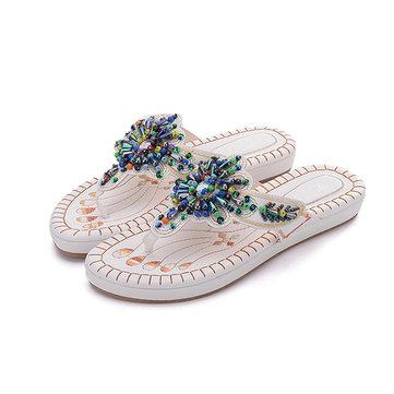 Summer Handmade Embroidery Bohemian Flat Sandals Beach Slipper Shoes