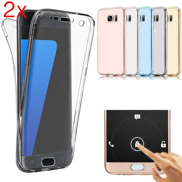 2pcs 360° Super Thin Full Screen TPU Soft Cover Case For Samsung Galaxy S7 Edge
