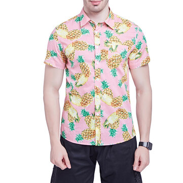 Mens Summer Hawaiian Style Pineapple Printing Pink Loose Beach Shirts