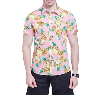 Mens Summer Hawaiian Style Pineapple Printing Beach Shirts
