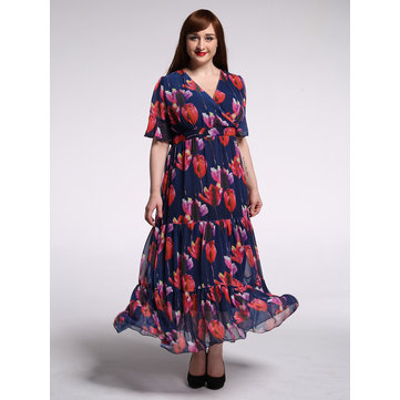Elegant Women Floral Printed V-neck Maxi Dress