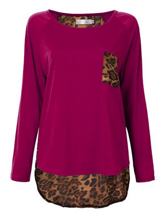 Asymmetrical Casual Leopard Pocket Patchwork Women Chiffon T-Shirt