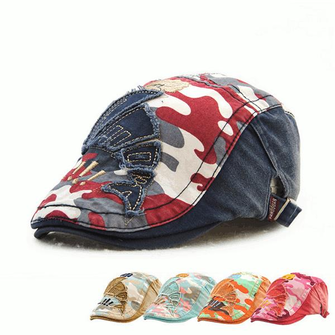 Kids Children Cotton Camouflage Berets Hats Military Flat Cap Patch Newboy Hats Adjustable Gorra