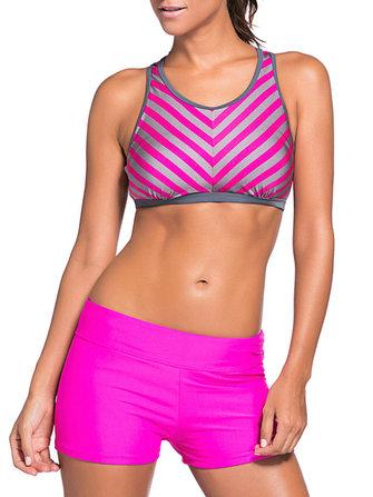 Women Striped Board Shorts Sports Racerback Tankini Beachwear
