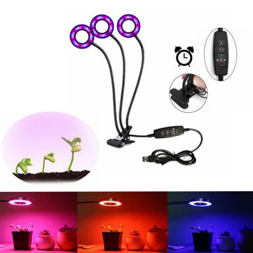 LUSTREON USB 18W 3Heads Clip-on Grow Light Dimmable Timing Plant Lamp for Indoor Flower DC5V