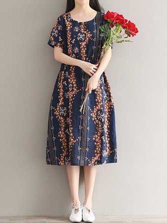 Floral Printed Short Sleeve Drawstring Waist Dress For Women