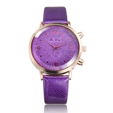 Fashion Elegant Lady Women Rhinestone PU Leather Band Analog Quartz Watch