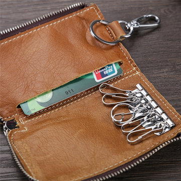Men And Women Retro Genuine Leather Multi-function 6 Key Holder Purse Solid Card Holder