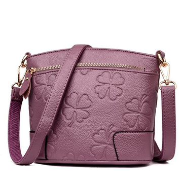 Women PU Leather Solid Shell Crossbody Bags Embossed Floral Concise Shoulder Bags Phone Bags