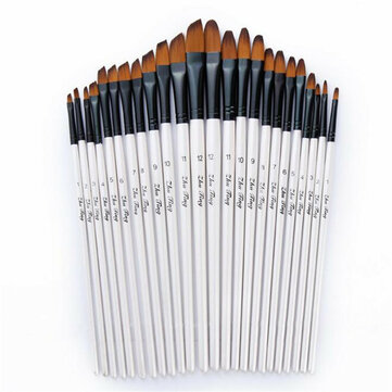 24 Pcs Artist Nylon Hair Paint Brush Art Watercolor Acrylic Oil Painting Supplies